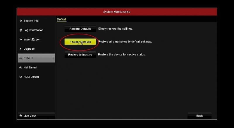 ریست تنظیمات کارخانه در DVR هایک ویژن