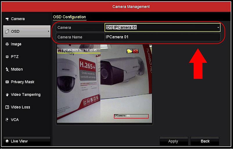 نحوه تغییر نام دوربین در دستگاه NVR هایک ویژن